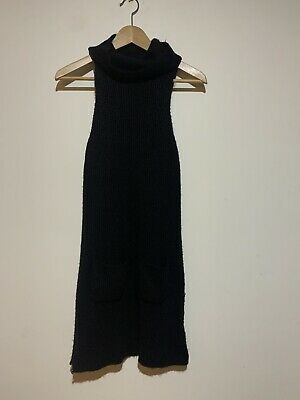 AU8 • Buy Urban Outfitters Silence + Noise Black Knit Turtleneck Sleeveless Dress. Size S