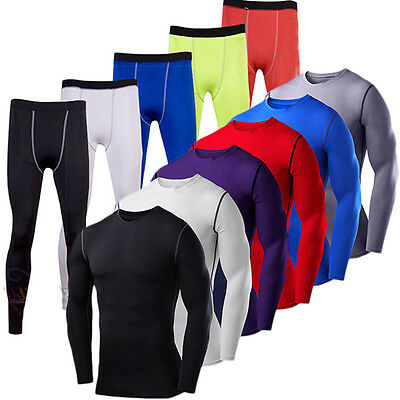 Mens Compression Base Layer Thermal Gym Sports Workout Top Long Pants Tracksuit • 9.99£