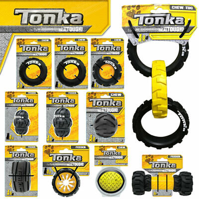 Tonka Real Tires TOUGH Dog Toys Tri-Stack Tyre Tread Fillable Feeders Rope Rings • 12.99£
