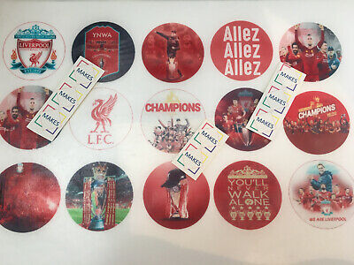 Liverpool 2020 Champions Wafer Cupcake Toppers • 2.99£