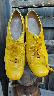 AU199 • Buy Vintage Christian Dior Yellow Snakeskin Print Leather Shoes 1950s Era Size 7.5