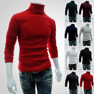 Mens Roll Turtle Polo Neck Shirt Long Sleeve Jumper Knitted Pullover Sweater Top • 10.89£
