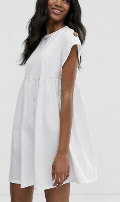 AU28 • Buy ASOS Button Sleeve Mini Smock Dress 18
