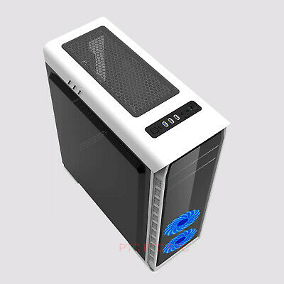 AU84.55 • Buy White Elysium Gaming Case Computer PC Full ATX Case With Side Window 2x Led Fans