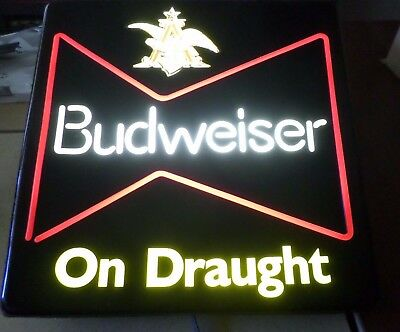 $ CDN89.64 • Buy Budweiser On Draught Bar Lighted Beer Sign Man Cave Great Display