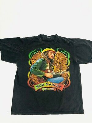 $ CDN92.24 • Buy Vintage Bob Marley Rap Reggae T-Shirt Black Red Yellow Green Big Logo Hiphop