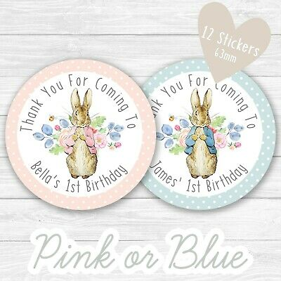 Personalised Peter Rabbit Party Stickers Round Labels Thank You Sweet Cones Bags • 2.49£