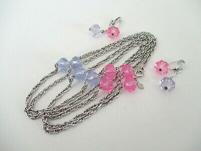 $10 • Buy  Sarah Coventry Long Necklace Dangle Earrings Set Pink Lavender Silver Tone