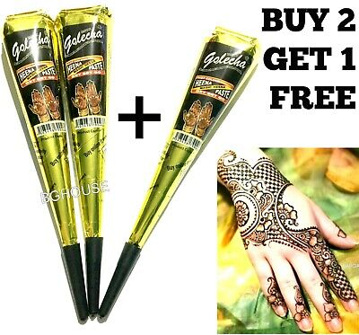 Organic Black Henna Mehandi Tattoo Cones Golecha  Indian Natural Paste Cone X 1 • 2.70£