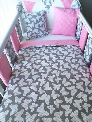 Handmade Cot Bedding Set Quilt Bumpers Bunting Cushion - Butterfly Polka Dots • 51.99£