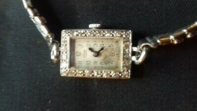 Vintage 1920s Diamond And White Gold Ladies Watch By Benson, London - Working • 360£