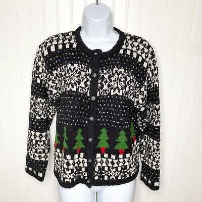 $39 • Buy Vintage 90s Sigrid Olsen Christmas Cardigan Sweater Chenille Tree Snow Red Green