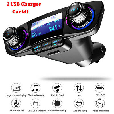 Car FM Transmitter Wireless Bluetooth Handsfree Kit MP3 Player USB Charger AUX • 10.49£