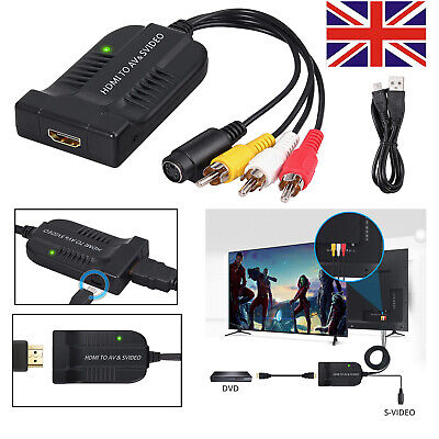 1080P HDMI To CVBS+S-Video Converter With AV Svideo Cable For PS4 PAL/NTSC,DVD • 12.85£