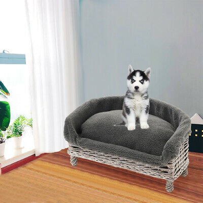 £29.95 • Buy Small Medium Large Wicker Pet Bed Settee Sofa Armchair Couch Faux Fur Cushion UK