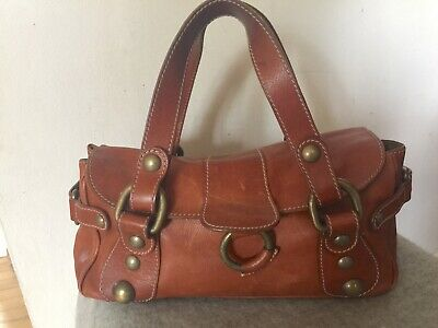 Hobbs Chestnut Tan Quility Leather Grab Hand Bag Made In Italy • 12.99£
