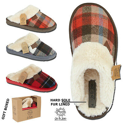 Ladies Slippers Womens Tartan Faux Fur Lined Warm Comfort Winter Mules Shoe Size • 13.99£