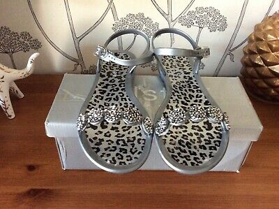 Holster Australia Silver With Pewter Beading Sandals - Size UK 6, EU 39 With Box • 12.49£