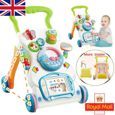 Interactive Baby Walker 3 In 1 First Steps Push Along Bouncer Activity Music Toy • 17.95£