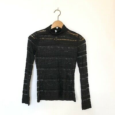 $10 • Buy Zara Top Womans Size Small Black Lace Long Sleeve Semi Sheer Mock Neck Top