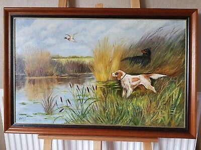 Superb Hunting Scene Oil Painting Dogs And Ducks By Lake • 39.95£