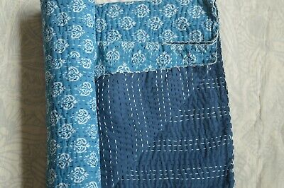 Paisley Kantha Quilt Indian Indigo Blue Cotton Block Blanket Bedding King Size • 59.99£