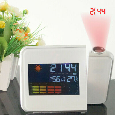 Projection Alarm Clock With Weather Station Thermometer Date LED Digital Clock X • 9.99£