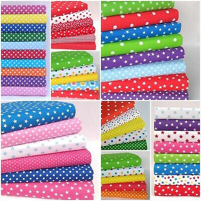 £4.25 • Buy Spots & Stars Fabric Sewing Material Bundles Poly Cotton Fat Quarters Squares