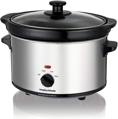 Morphy Richards Ceramic Slow Cooker 2.5L 460251 Silver Slowcooker • 19.99£