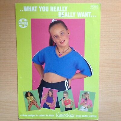 Dk Knitting Pattern Childrens Girls Cropped Top With 3/4 Sleeves Ages 1-10 Years • 3£