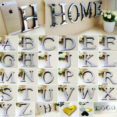 26 Letters DIY 3D Mirror Acrylic Wall Sticker Decal Home Decor Wall Art Mural UK • 1.99£