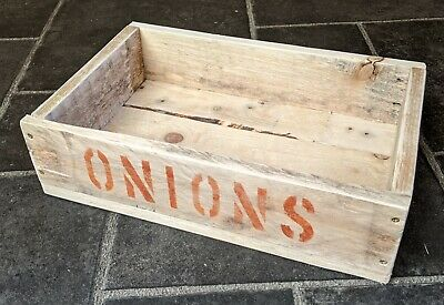 Rustic Hand-Made Wooden ONIONS Crate / Tray / Box • 4.50£