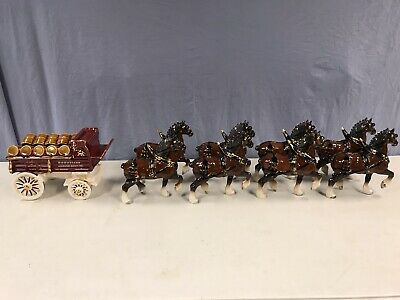 $ CDN846.44 • Buy California Poppytrail Pottery Metlox Budweiser 8 Clydesdale Horse Hitch & Wagon