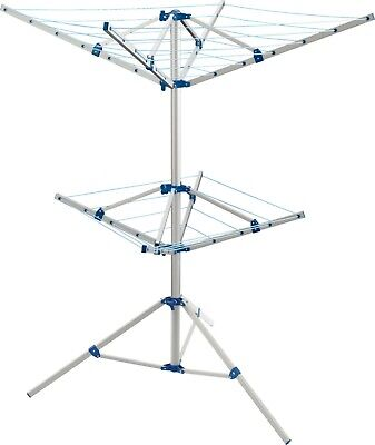 BIG Clothes Airer Rotary Washing Line DOUBLE 4 Arm Free Standing Laundry Camping • 52.99£