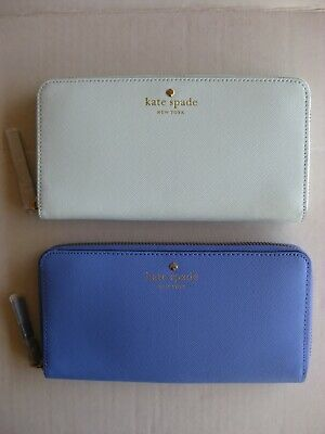 $ CDN60.50 • Buy Kate Spade Lacey Mikas Pond Zip Around Leather Wallet Clutch Blue Or Green NWT