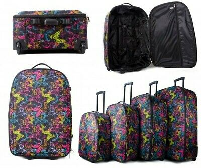 4  Set Of Butterfly Print Strong&Lightweight Suitcases Trolley Travel Luggage's • 27£