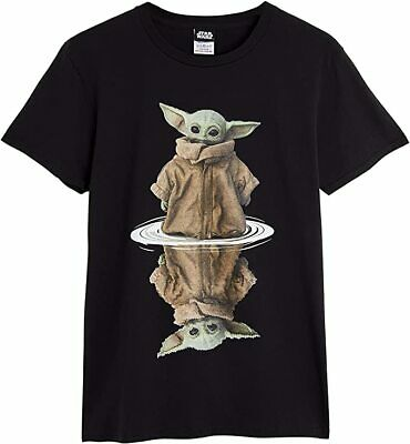 Star Wars Baby Yoda Black T Shirt, 100% Cotton Short Sleeve Men Women Teenagers • 14.26£