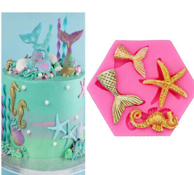 £4.59 • Buy Sea Horse Star Tail Silicone Fondant Mold Cake Sugarcraft Topper Mermaid Mould