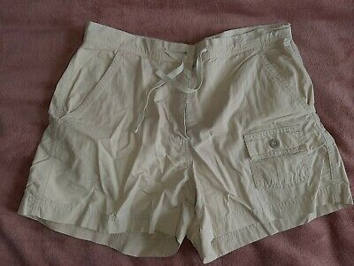 M&S Ladies Neutral Stone Beige Safari Shorts With Pockets.  Size 12 • 4£