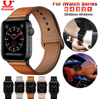 $ CDN10.65 • Buy Genuine Leather Replacement Band Strap For Apple Watch 5 4 3 2 1 IWatch 40/44mm