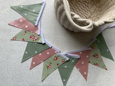 £9.50 • Buy Outdoor Bunting Oilcloth Handmade Garden Party Sage Star Floral Mix