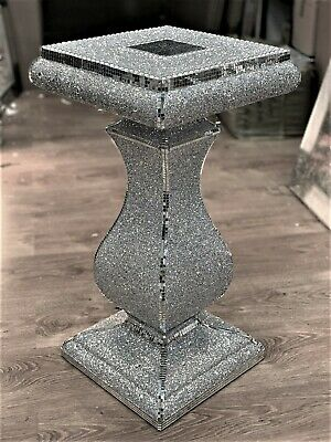 Silver VENETIAN Mirrored Table Modern Flower Stand Bed Side Lamp Romany Mosaic • 59.99£
