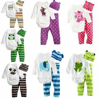 Newborn Baby Girl Boy Jumpsuit Pants Hat Animal Print Romper Top Clothes Outfit • 8.49£