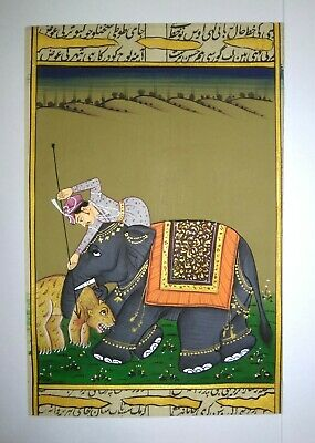 $14.99 • Buy Maharajah Hunting Forest Lion Handmade Miniature Hunt Painting On Paper