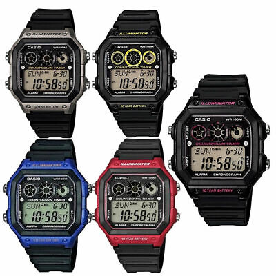 Casio Gents Black Rubber Quartz Watch With Digital Dial AE-1300WH • 36.95£