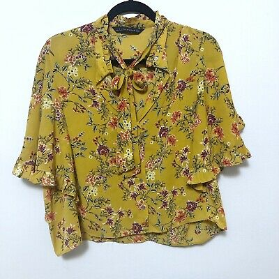 $10.50 • Buy Zara Basic Women's Large Yellow Short Sleeve Blouse Floral Gold Bow