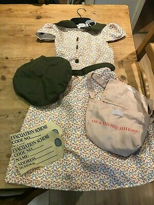 Girls Wartime School Girl Costume 1940s Wartime Fancy Dress Outfit & Accessories • 1£