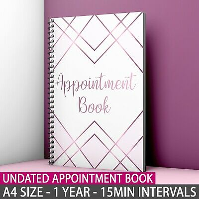 A4 Appointment Book Diary Beauty Salon Therapists 1 Year Nail Cashflow Calendar • 15.99£