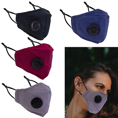 £3.29 • Buy Adult Cotton Face Masks Reusable Washable With PM2.5 Filter Pocket Air Valve