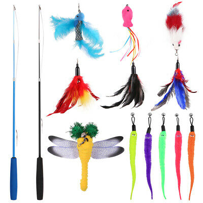 AU24.99 • Buy 14PCS Cat Play Toy Feather Teaser Wand Interactive Stick Kitten Pet Fun Fish